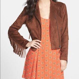 brown suede cropped fringe moto jacket